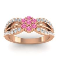 Simple Floral Pave Kalikda Pink Tourmaline Ring with Diamond in 14K Rose Gold