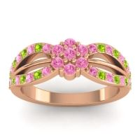 Simple Floral Pave Kalikda Pink Tourmaline Ring with Peridot in 18K Rose Gold