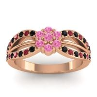 Simple Floral Pave Kalikda Pink Tourmaline Ring with Ruby and Black Onyx in 18K Rose Gold