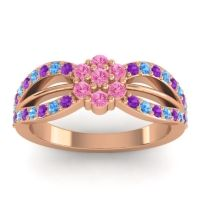 Simple Floral Pave Kalikda Pink Tourmaline Ring with Swiss Blue Topaz and Amethyst in 14K Rose Gold