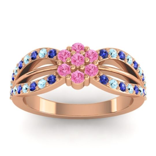 Simple Floral Pave Kalikda Pink Tourmaline Ring with Aquamarine and Blue Sapphire in 14K Rose Gold