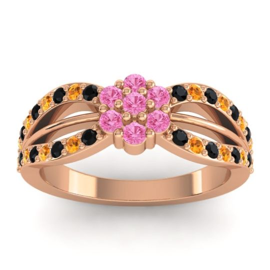 Simple Floral Pave Kalikda Pink Tourmaline Ring with Citrine and Black Onyx in 14K Rose Gold