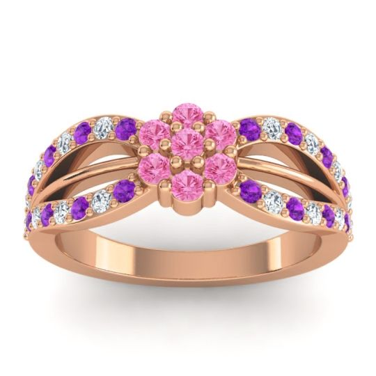 Simple Floral Pave Kalikda Pink Tourmaline Ring with Diamond and Amethyst in 14K Rose Gold