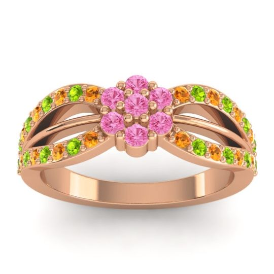 Simple Floral Pave Kalikda Pink Tourmaline Ring with Peridot and Citrine in 14K Rose Gold