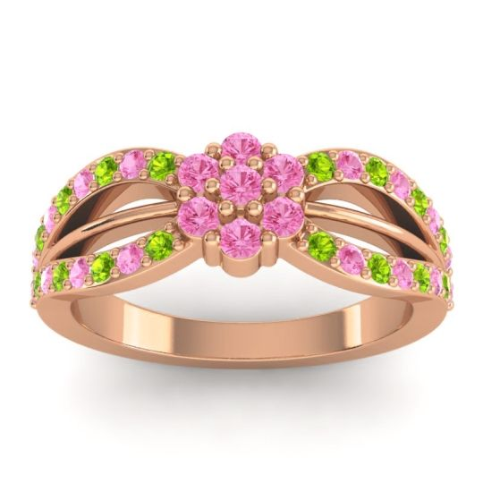 Simple Floral Pave Kalikda Pink Tourmaline Ring with Peridot in 14K Rose Gold