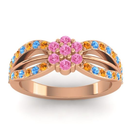 Simple Floral Pave Kalikda Pink Tourmaline Ring with Swiss Blue Topaz and Citrine in 18K Rose Gold