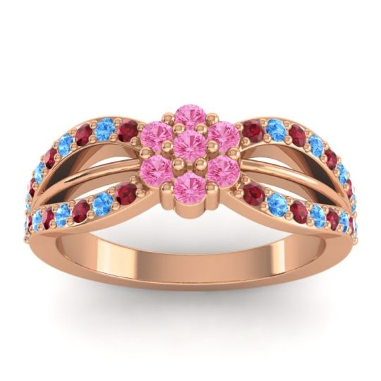 Simple Floral Pave Kalikda Pink Tourmaline Ring with Swiss Blue Topaz and Ruby in 18K Rose Gold