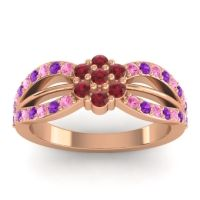Simple Floral Pave Kalikda Ruby Ring with Amethyst and Pink Tourmaline in 14K Rose Gold