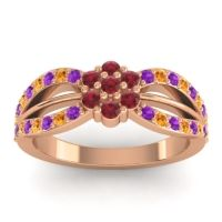 Simple Floral Pave Kalikda Ruby Ring with Citrine and Amethyst in 18K Rose Gold
