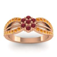 Simple Floral Pave Kalikda Ruby Ring with Citrine in 18K Rose Gold
