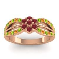 Simple Floral Pave Kalikda Ruby Ring with Citrine and Peridot in 18K Rose Gold