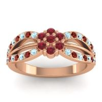 Simple Floral Pave Kalikda Ruby Ring with Garnet and Aquamarine in 14K Rose Gold