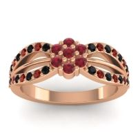 Simple Floral Pave Kalikda Ruby Ring with Garnet and Black Onyx in 14K Rose Gold