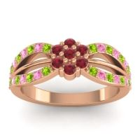Simple Floral Pave Kalikda Ruby Ring with Pink Tourmaline and Peridot in 18K Rose Gold