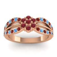 Simple Floral Pave Kalikda Ruby Ring with Swiss Blue Topaz and Garnet in 14K Rose Gold