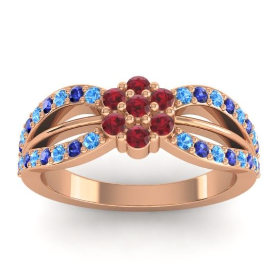Simple Floral Pave Kalikda Ruby Ring with Blue Sapphire and Swiss Blue Topaz in 14K Rose Gold