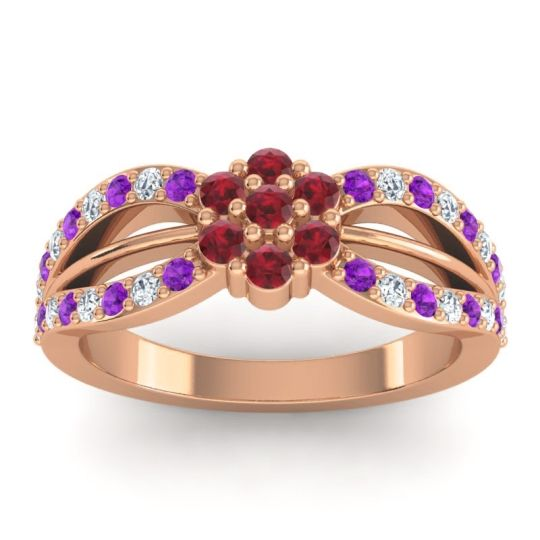 Simple Floral Pave Kalikda Ruby Ring with Diamond and Amethyst in 18K Rose Gold