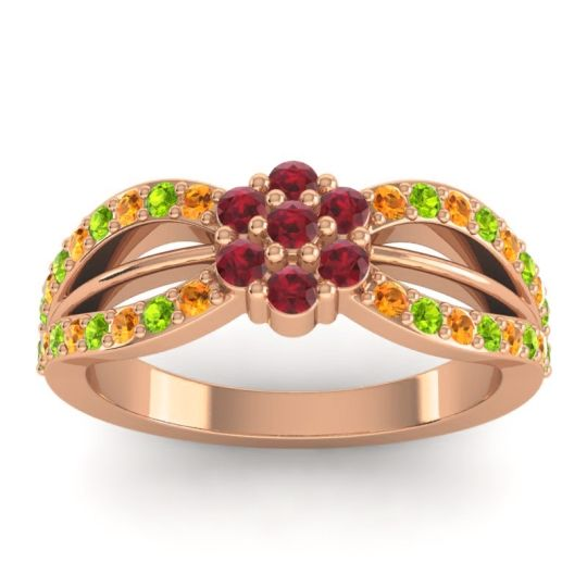 Simple Floral Pave Kalikda Ruby Ring with Peridot and Citrine in 18K Rose Gold