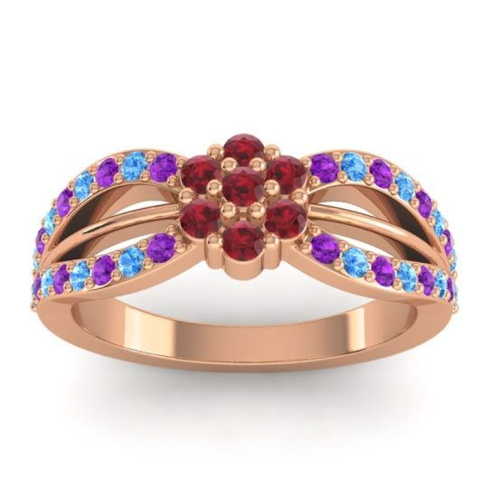 Simple Floral Pave Kalikda Ruby Ring with Swiss Blue Topaz and Amethyst in 18K Rose Gold