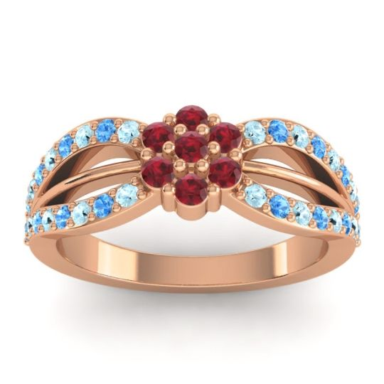 Simple Floral Pave Kalikda Ruby Ring with Swiss Blue Topaz and Aquamarine in 14K Rose Gold