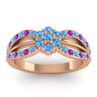Simple Floral Pave Kalikda Swiss Blue Topaz Ring with Amethyst in 14K Rose Gold