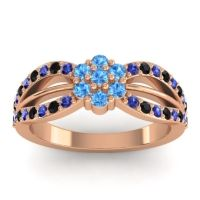 Simple Floral Pave Kalikda Swiss Blue Topaz Ring with Black Onyx and Blue Sapphire in 14K Rose Gold