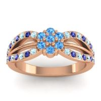 Simple Floral Pave Kalikda Swiss Blue Topaz Ring with Blue Sapphire and Aquamarine in 14K Rose Gold