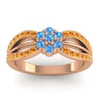 Simple Floral Pave Kalikda Swiss Blue Topaz Ring with Citrine in 18K Rose Gold