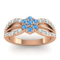 Simple Floral Pave Kalikda Swiss Blue Topaz Ring with Diamond and Aquamarine in 14K Rose Gold