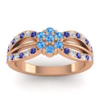 Simple Floral Pave Kalikda Swiss Blue Topaz Ring with Diamond and Blue Sapphire in 14K Rose Gold