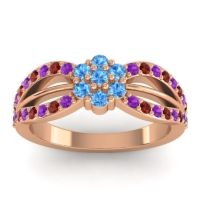 Simple Floral Pave Kalikda Swiss Blue Topaz Ring with Garnet and Amethyst in 14K Rose Gold
