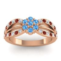 Simple Floral Pave Kalikda Swiss Blue Topaz Ring with Garnet and Diamond in 14K Rose Gold