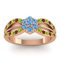 Simple Floral Pave Kalikda Swiss Blue Topaz Ring with Garnet and Peridot in 14K Rose Gold