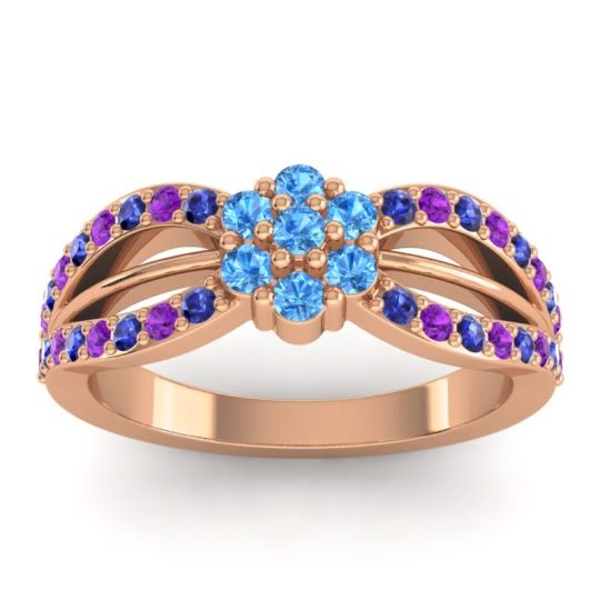 Simple Floral Pave Kalikda Swiss Blue Topaz Ring with Amethyst and Blue Sapphire in 14K Rose Gold