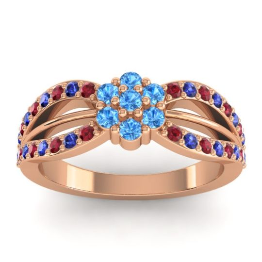 Simple Floral Pave Kalikda Swiss Blue Topaz Ring with Blue Sapphire and Ruby in 14K Rose Gold