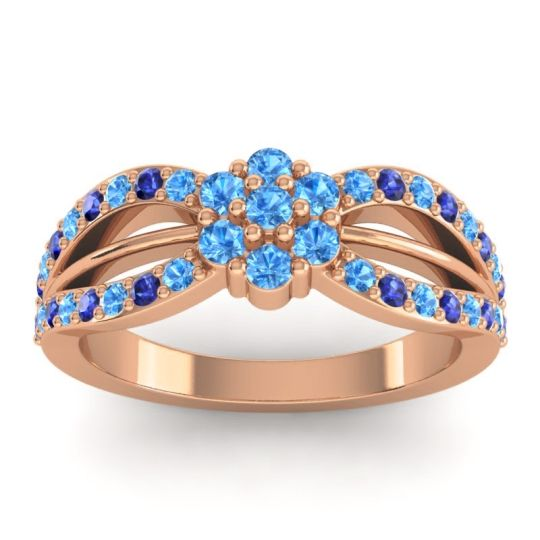 Simple Floral Pave Kalikda Swiss Blue Topaz Ring with Blue Sapphire in 18K Rose Gold
