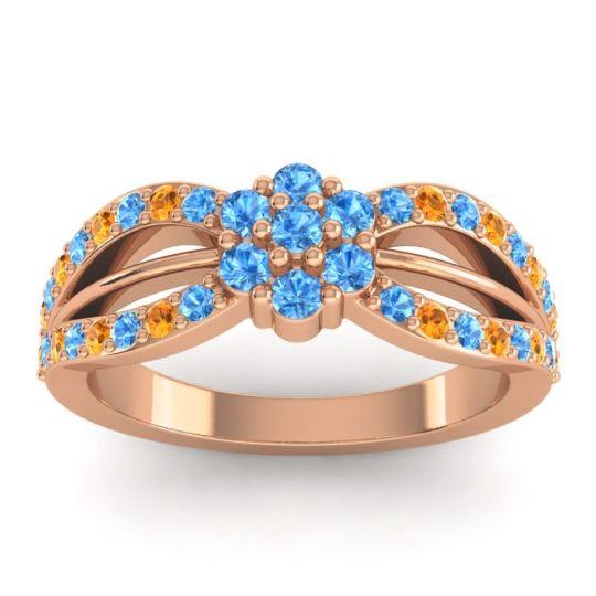 Simple Floral Pave Kalikda Swiss Blue Topaz Ring with Citrine in 18K Rose Gold