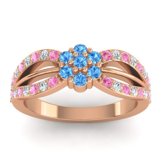 Simple Floral Pave Kalikda Swiss Blue Topaz Ring with Diamond and Pink Tourmaline in 18K Rose Gold