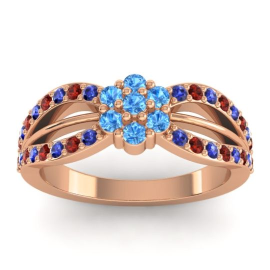 Simple Floral Pave Kalikda Swiss Blue Topaz Ring with Garnet and Blue Sapphire in 14K Rose Gold