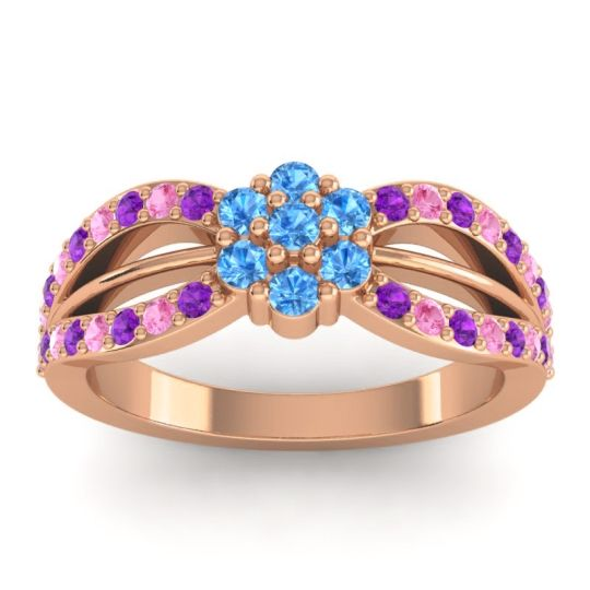 Simple Floral Pave Kalikda Swiss Blue Topaz Ring with Pink Tourmaline and Amethyst in 18K Rose Gold