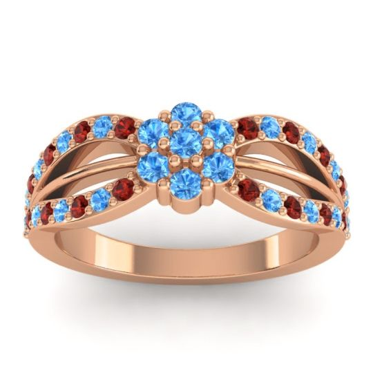 Simple Floral Pave Kalikda Swiss Blue Topaz Ring with Garnet in 18K Rose Gold