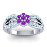 Simple Floral Pave Kalikda Amethyst Ring with Aquamarine in Platinum