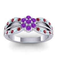Simple Floral Pave Kalikda Amethyst Ring with Aquamarine and Ruby in Platinum