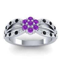 Simple Floral Pave Kalikda Amethyst Ring with Black Onyx and Diamond in Platinum