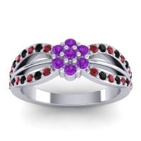 Simple Floral Pave Kalikda Amethyst Ring with Black Onyx and Ruby in 14k White Gold