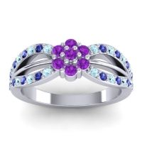 Simple Floral Pave Kalikda Amethyst Ring with Blue Sapphire and Aquamarine in Platinum