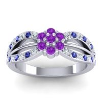 Simple Floral Pave Kalikda Amethyst Ring with Blue Sapphire and Diamond in Platinum