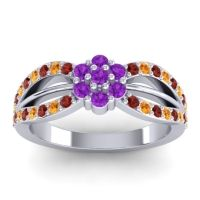 Simple Floral Pave Kalikda Amethyst Ring with Citrine and Garnet in Palladium