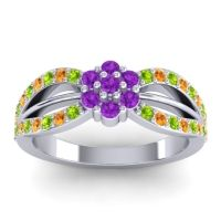 Simple Floral Pave Kalikda Amethyst Ring with Citrine and Peridot in Palladium