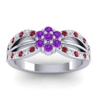 Simple Floral Pave Kalikda Amethyst Ring with Diamond and Ruby in Platinum